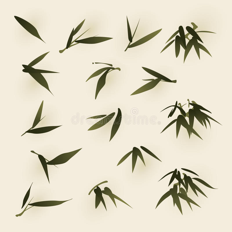 Oriental style painting, bamboo leaves royalty free illustration