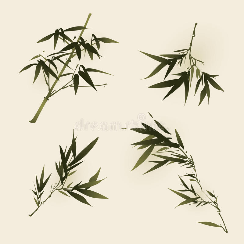 Oriental style painting, bamboo leaves vector illustration