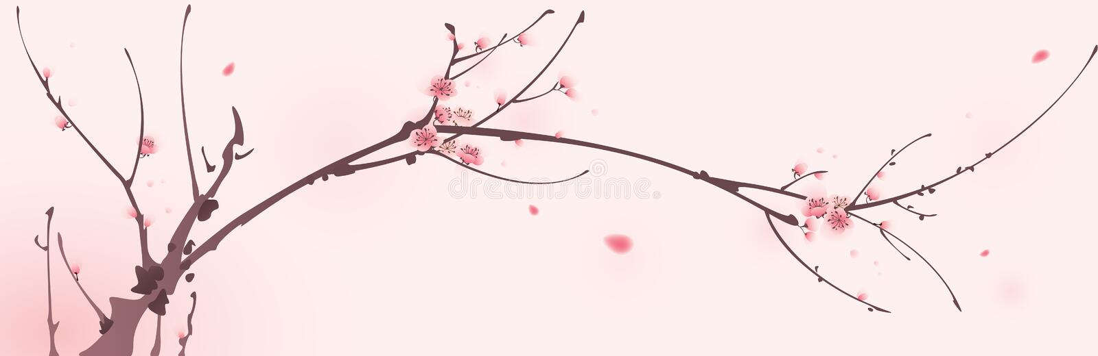 Oriental style painting, cherry blossom in spring stock illustration