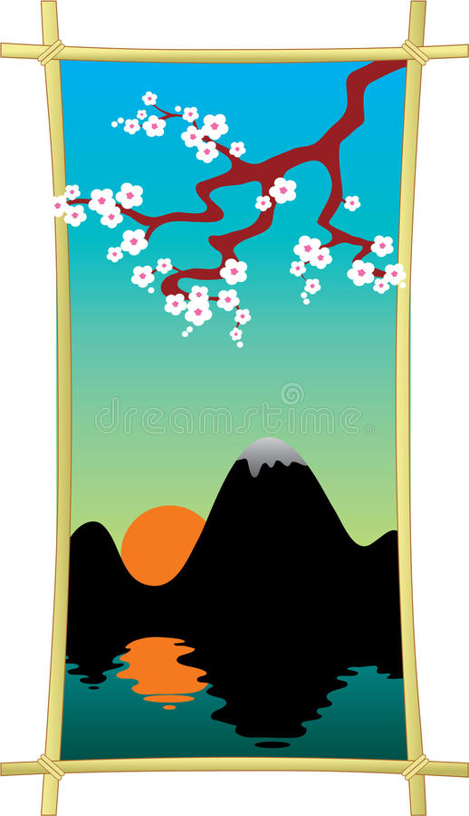 Oriental style painting, plum blossom above the water. vector illustration