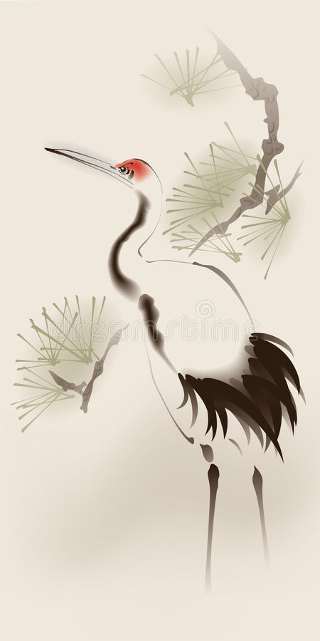 Oriental style painting, Red-crowned Crane royalty free illustration