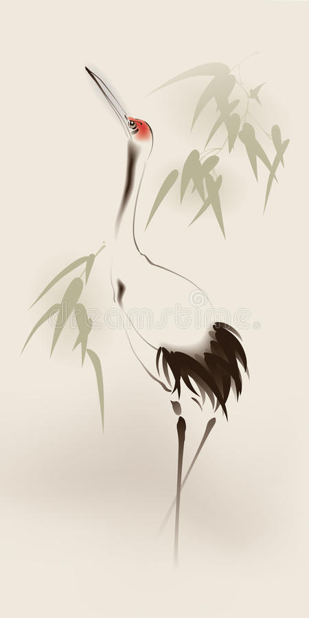 Free Oriental Style Painting, Red-crowned Crane Stock Images - 24417574