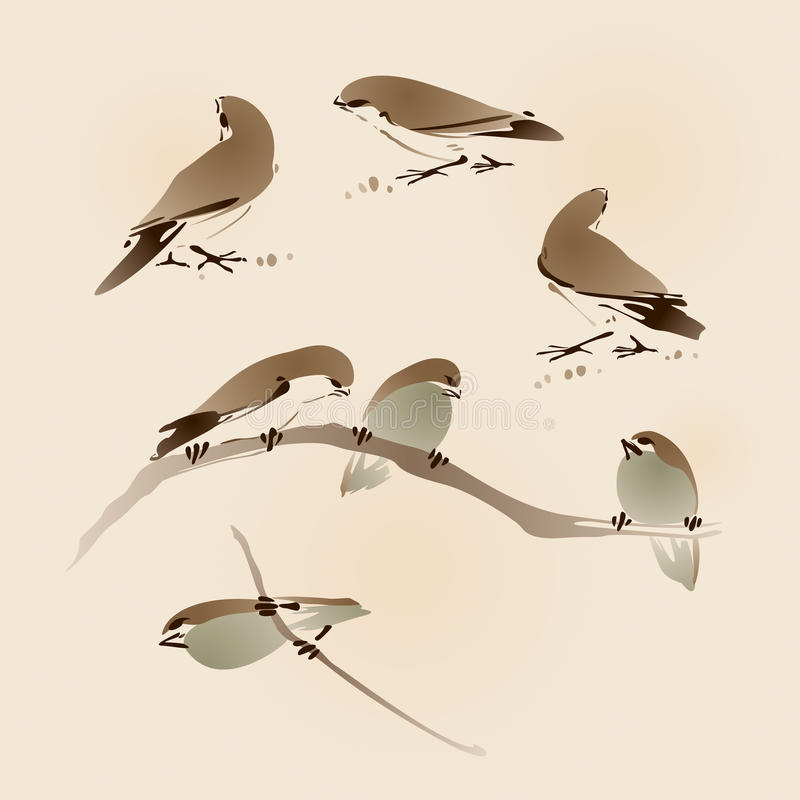 Oriental style painting, sparrows stock illustration