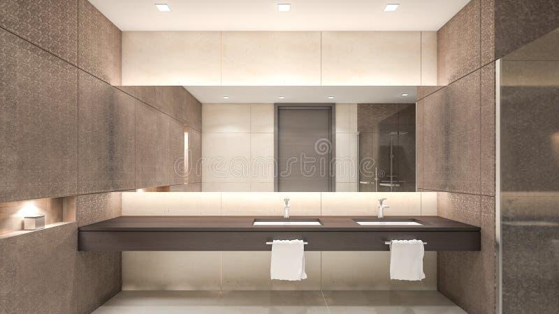 Oriental style water closet / 3D Rendering stock illustration