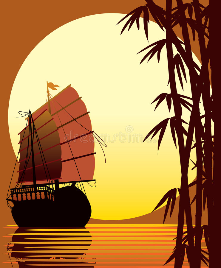 Oriental sunset. Sailing ship, bamboo forest, sea and sun vector illustration