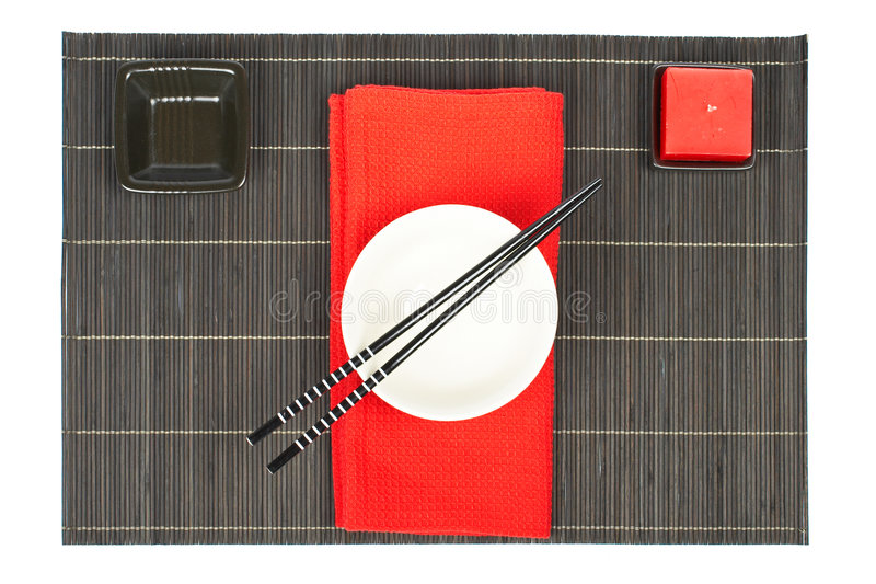 Oriental table setting stock photography