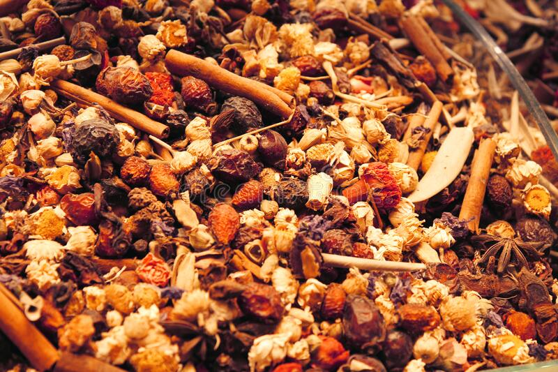 Oriental Tea with Spices in a shop in Istanbul,Turkey royalty free stock photo
