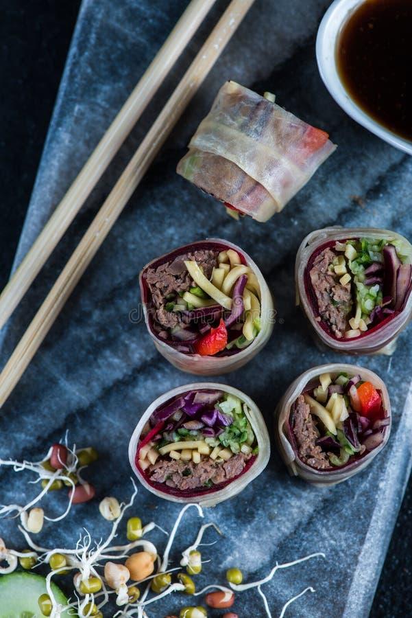 Oriental Teriyaki Beef Bites On Marble Board Stock Photo ...