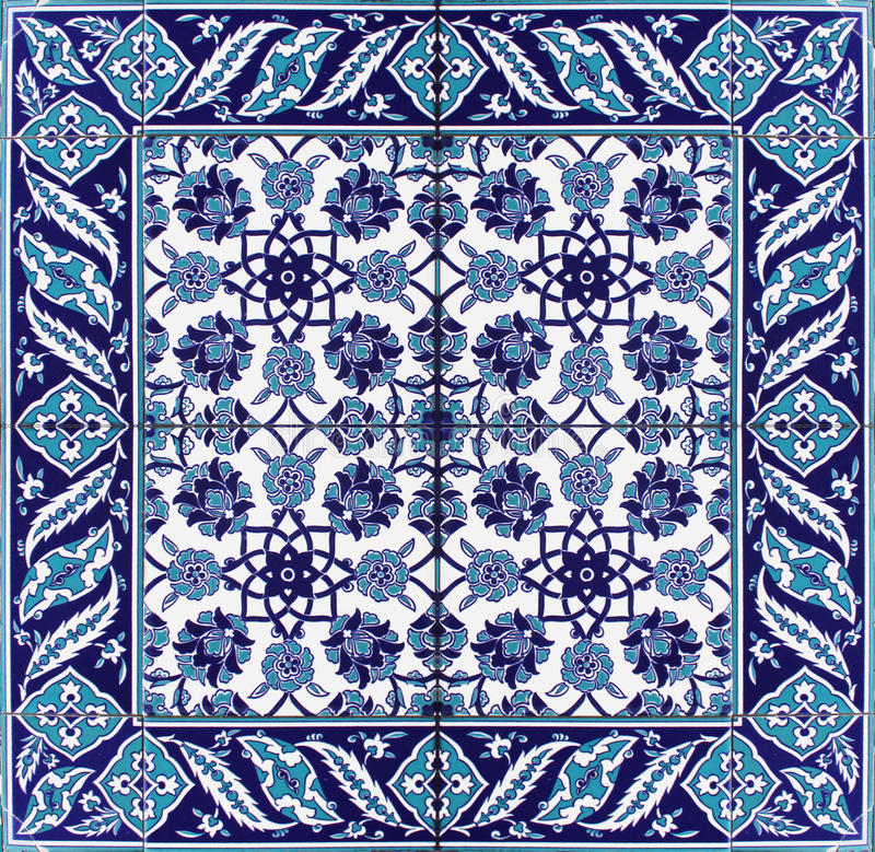 Oriental Tile Pattern Floral Ornament Blue White royalty free stock image