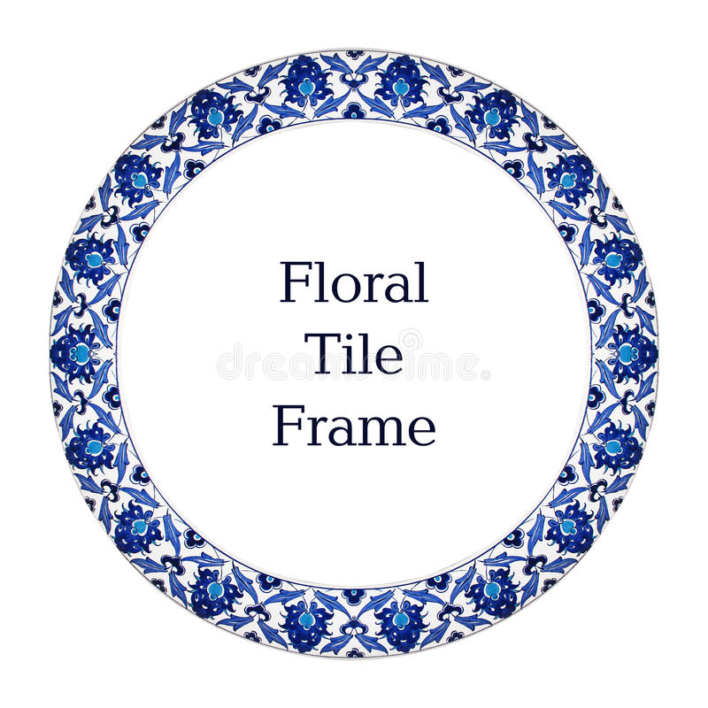 Oriental Tile Pattern Floral Ornament Blue White Frame royalty free stock image