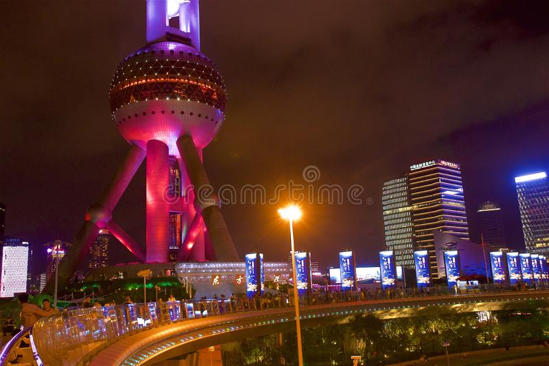 Oriental tower in Shanghai at night, China stock photos