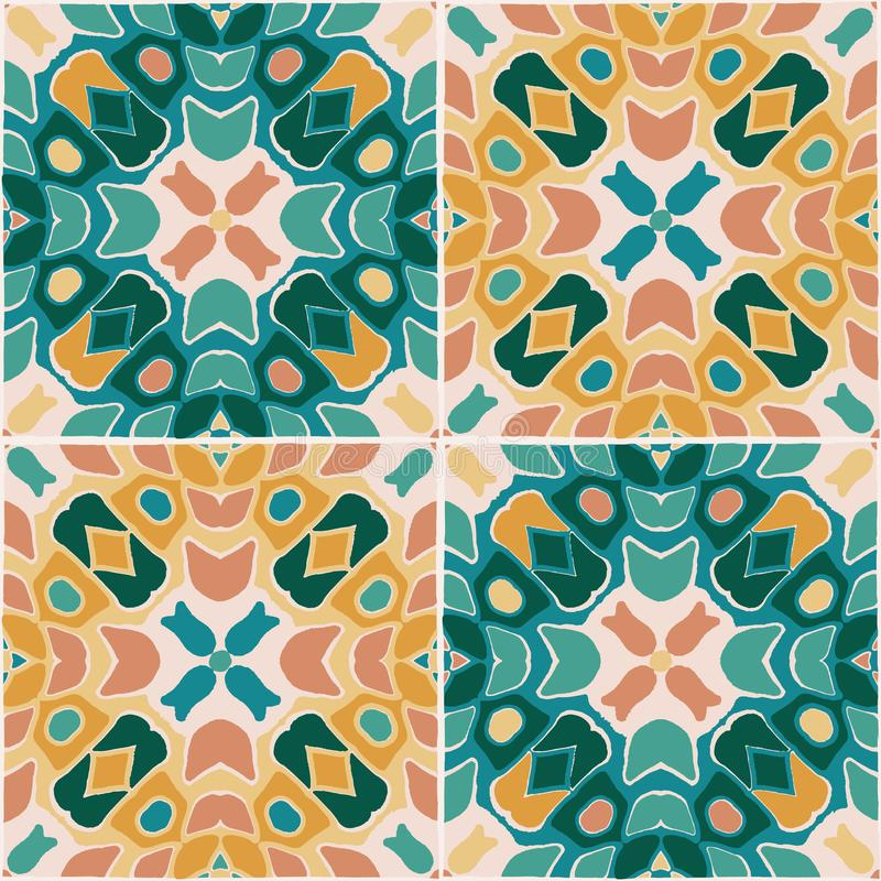 Oriental traditional floral tile ornament, Moroccan seamless pattern, vector illustration. surface pattern design for vector illustration