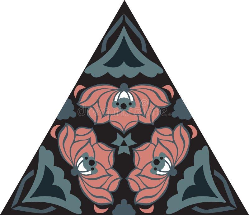 Oriental traditional lotus flower triangular pattern royalty free illustration