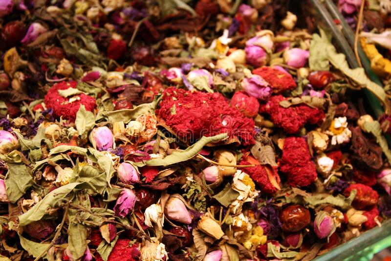 Oriental Turkish Tea with flowers stock photos