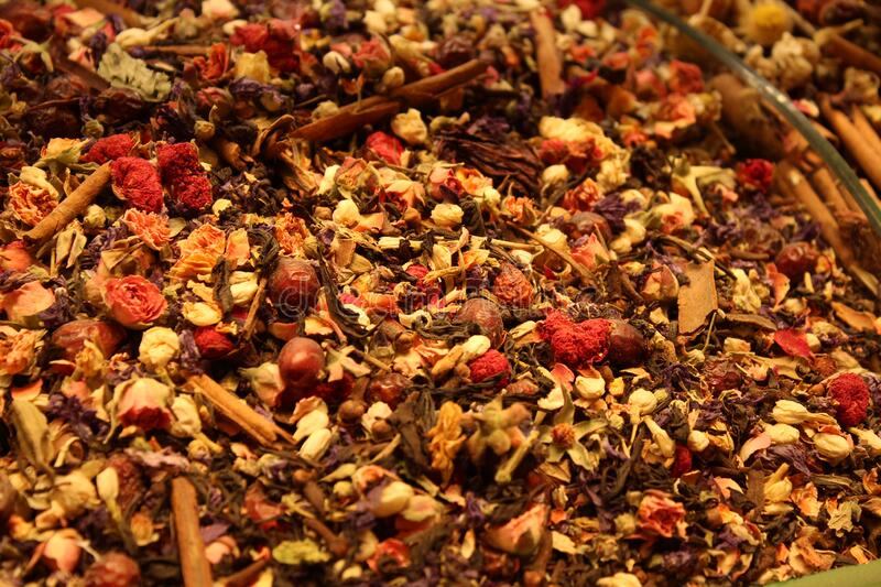 Oriental Turkish Tea with spices and flowers stock photography
