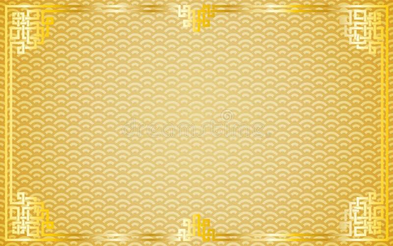 Oriental vintage gold frame on golden pattern background stock illustration