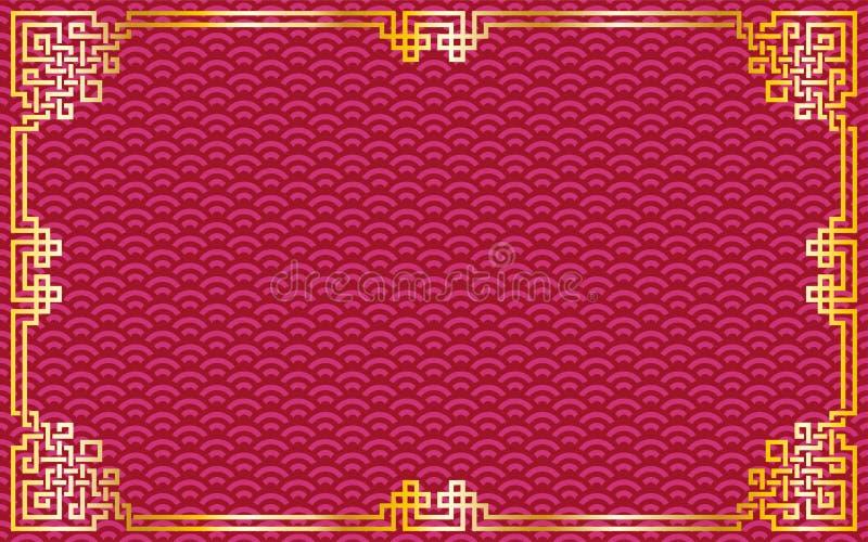 Oriental vintage gold frame on red / purple pattern background f stock illustration