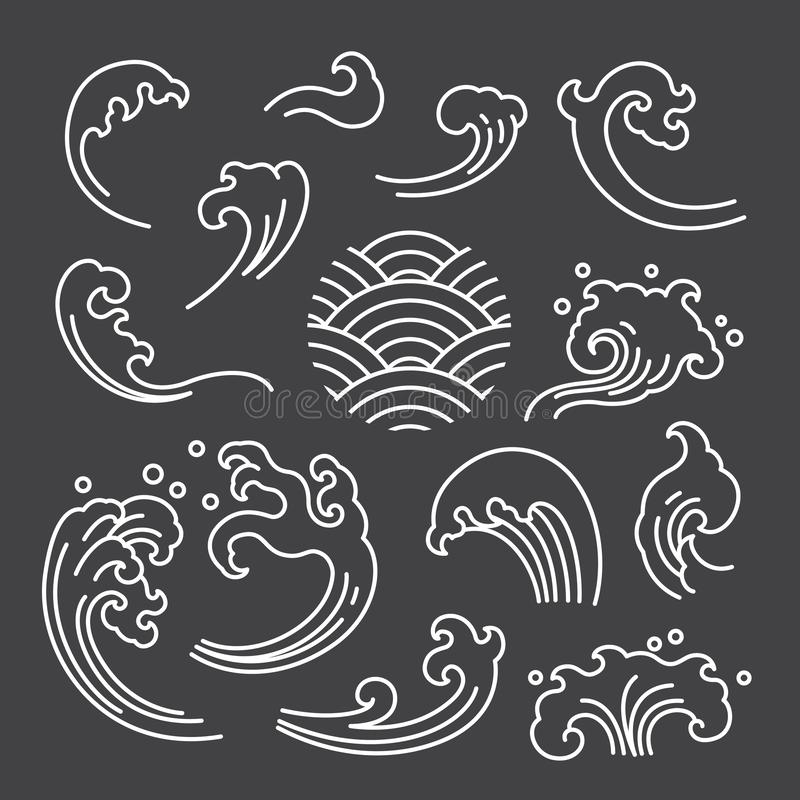Oriental water wave isolated separated icon. Japanese. Thai. stock illustration
