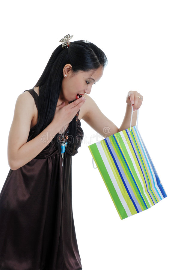 Download Oriental Woman Surprised By A Present Stock Photo - Image: 6833500