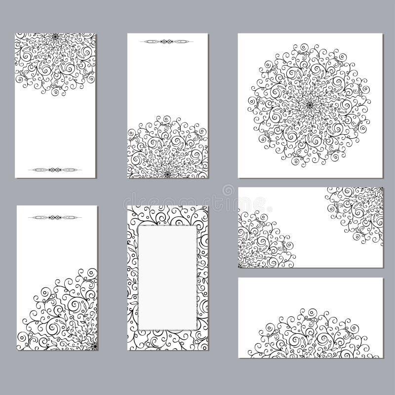 Orientalisch schwarz-weiß auf weißem Hintergrund rund, offene Mandalenmuster auf den Karten Farbmandala lizenzfreie abbildung