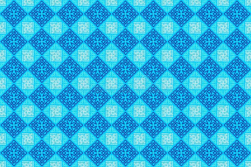 Orientalische arabische geometrische dekorative Fliese in der weichen blauen Farbhintergrund-Tapete stockfotografie