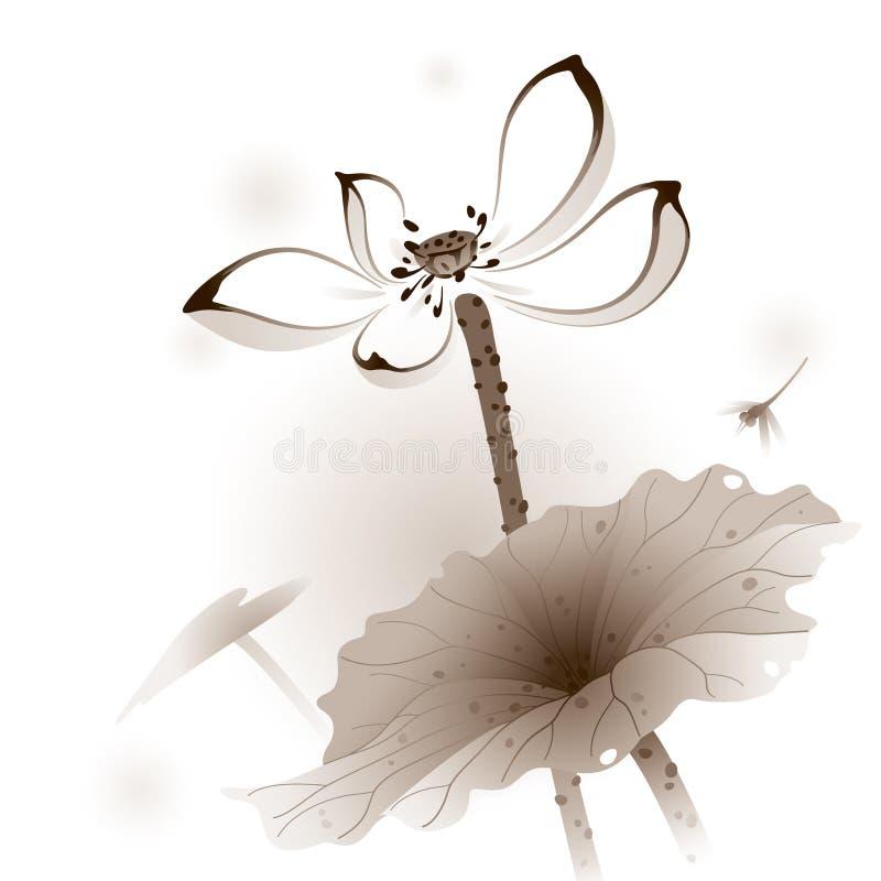 Orientalische Art Lotus lizenzfreie abbildung