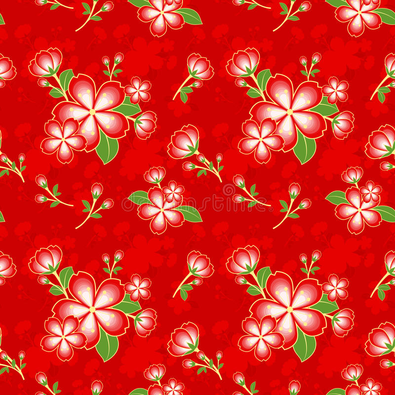 Orientalische Blumen-chinesisches nahtloses Muster stock abbildung