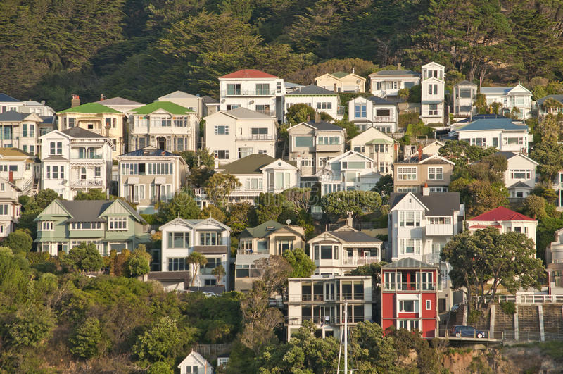 Orientalische Buchtlandhäuser, Wellington, Neuseeland lizenzfreie stockfotos