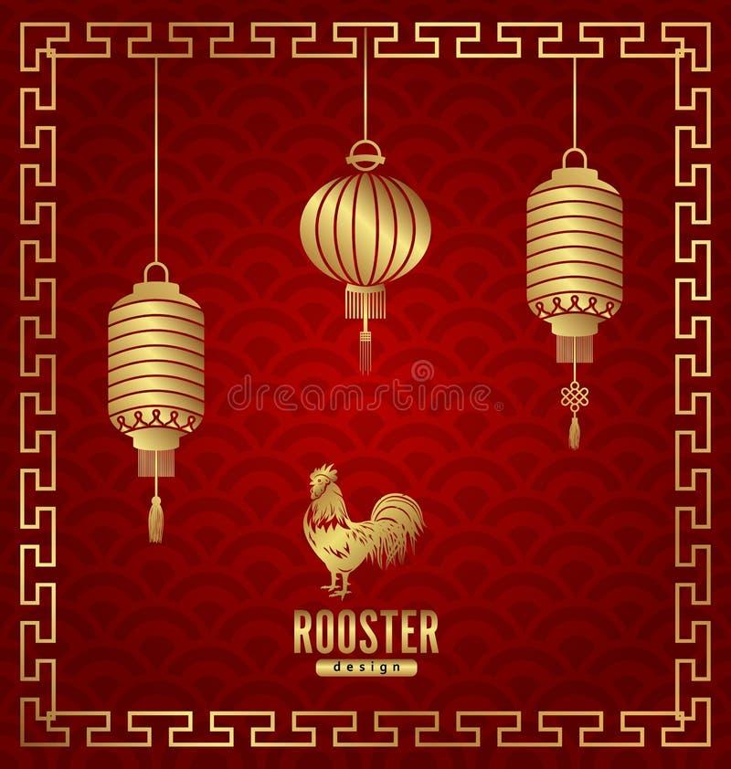 Orientalische Fahne für Hahn des Chinesischen Neujahrsfests stock abbildung
