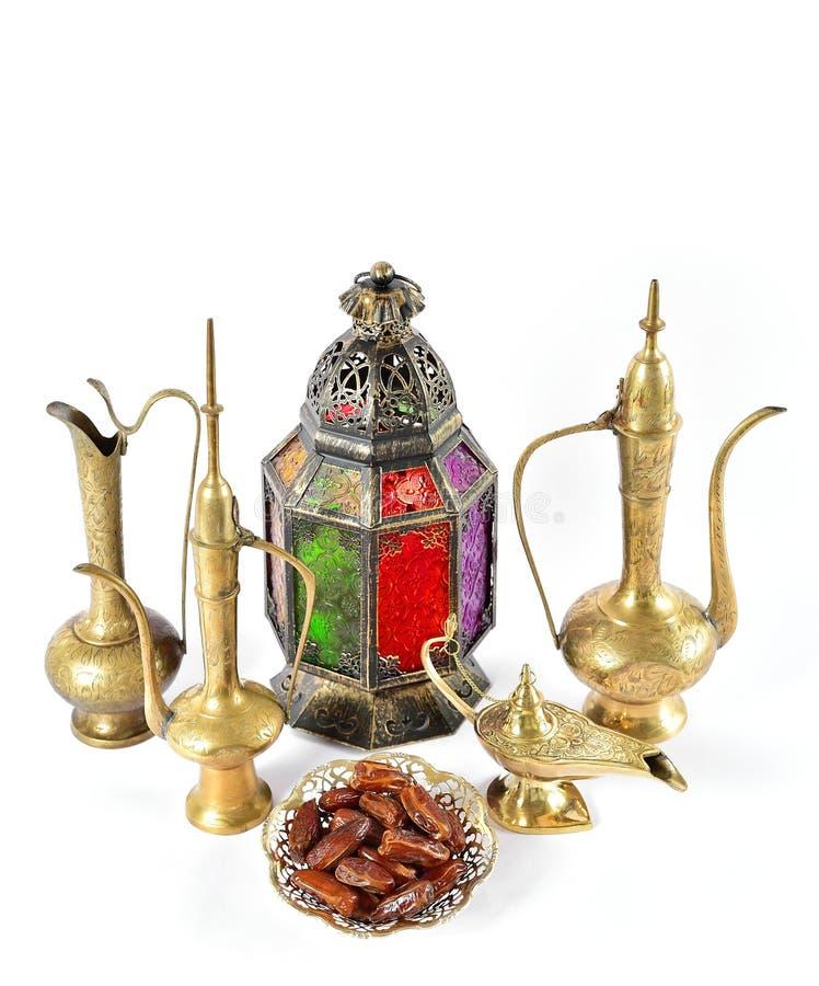 Orientalische Gastfreundschaft Ramadan der goldenen arabischen Dekorationen der Weinlese stockfoto