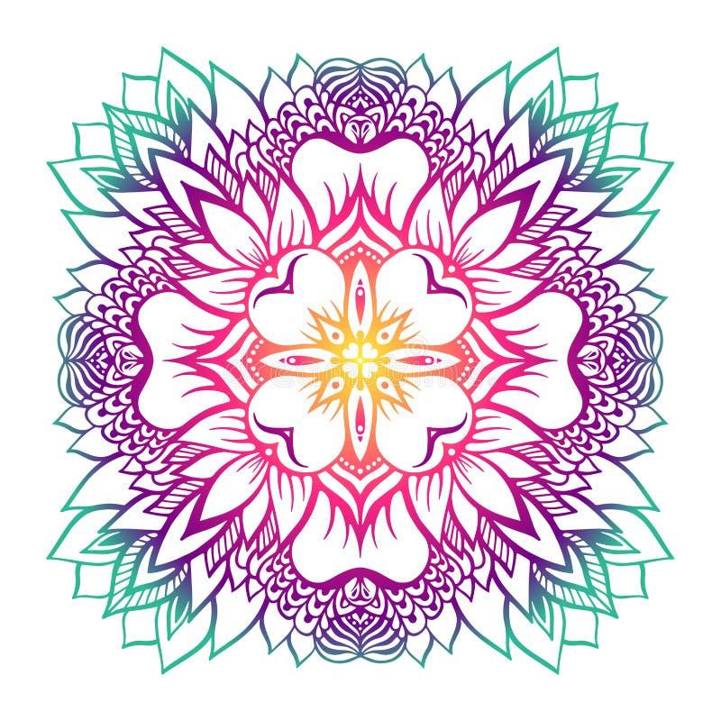 Orientalische Mandala mit einer Lotosblume in der Mitte lizenzfreie abbildung