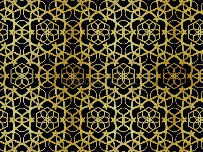 Orientalische Mustergoldfarbe, Illustration Dekoratives Element für Design Dekorative Elemente der Weinlese Verzierung Lokalisier stock abbildung