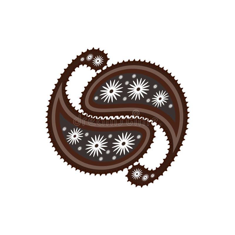 Orientalische Paisley-Verzierung in den grauen und braunen Tönen Stilisiertes yin Yang Feng Shui lizenzfreie abbildung