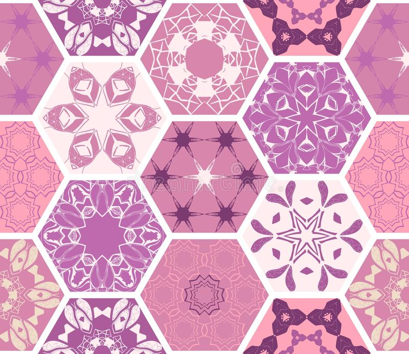 Orientalische sechseckige LuxusKeramikfliesen Buntes purpurrotes nahtloses Muster stock abbildung