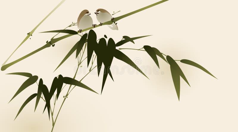 Orientalischer Artanstrich, Bambuszweige vektor abbildung