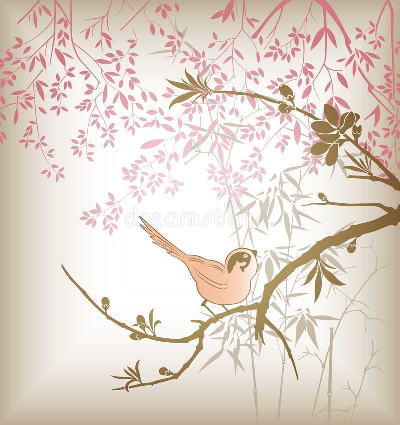 Orientalischer Baum-Zweig und Vogel stock abbildung