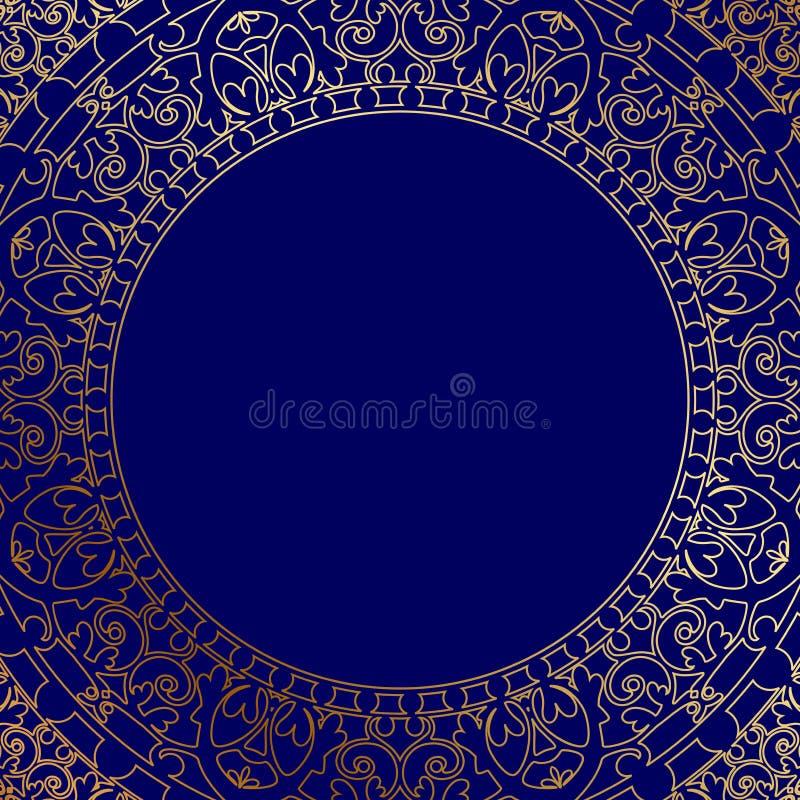 Orientalischer blauer Rahmen mit Goldverzierung stock abbildung