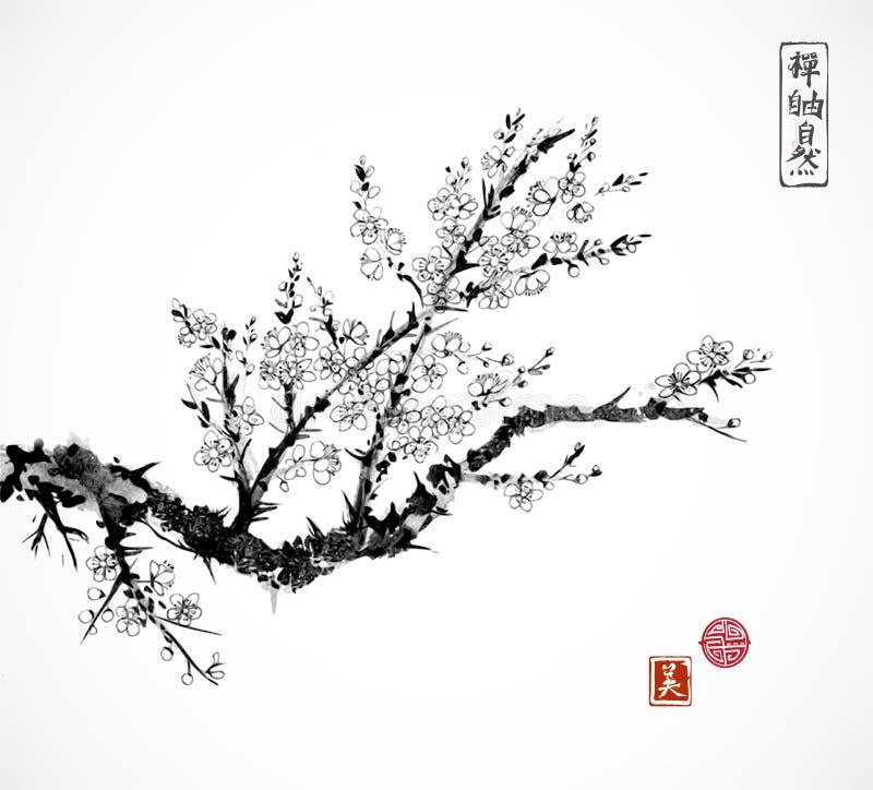 Orientalischer Kirschblüte-Kirschbaum in der Blüte und in Fischerboot im Wasser Traditionelles orientalisches Tintenmalerei sumi- lizenzfreie abbildung