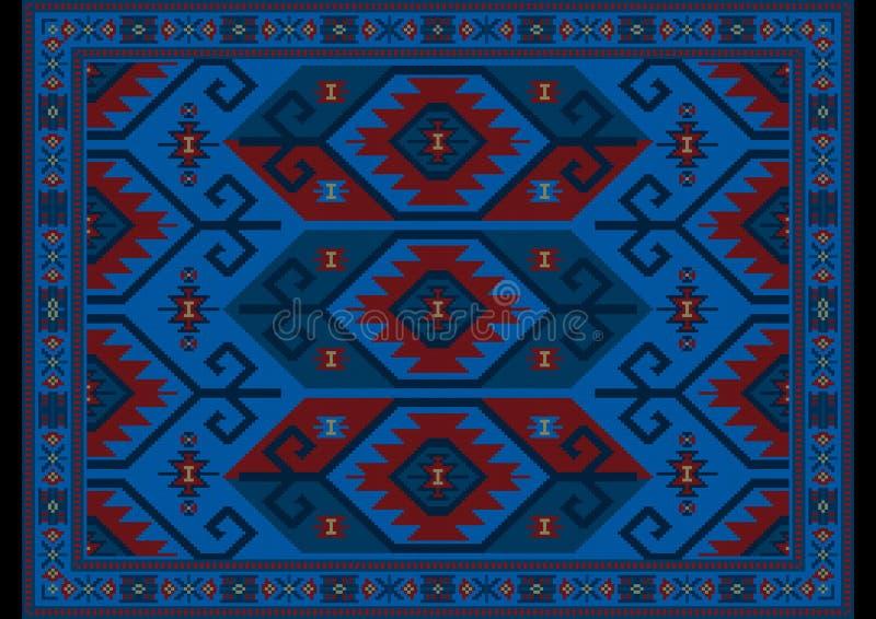 Orientalischer Luxusteppich in den blauen, kastanienbraunen Schatten mit den beige und überseeischen Mustern auf schwarzem Hinte stockfotografie
