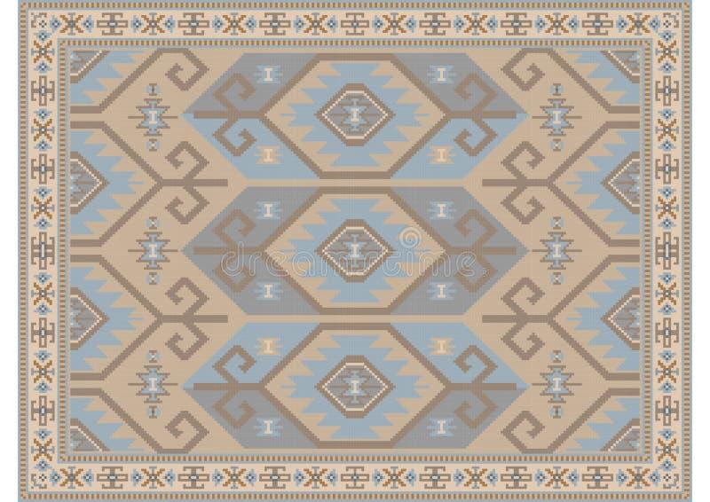 Orientalischer Luxusteppich in den Pastellfarben mit den beige, bläulichen und braunen Schatten stockfotografie