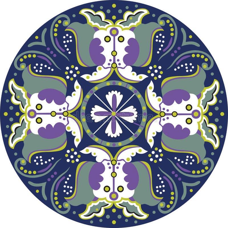 Orientalisches chinesisches traditionelles Lotosblumen-Schmetterlingskreismuster vektor abbildung
