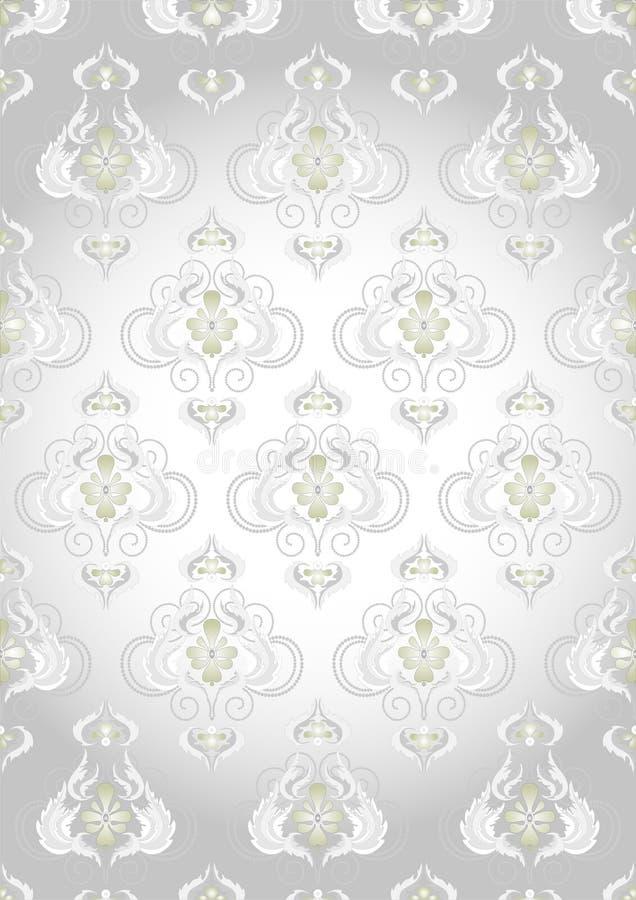 Orientalisches Muster auf einem silbernen Hintergrund. Tapete stock abbildung