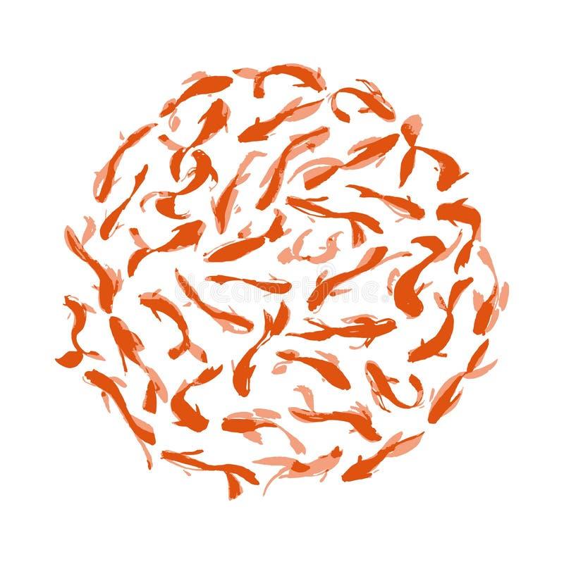 Orientalisches Muster des Aquarells mit roten Karpfen stockfoto