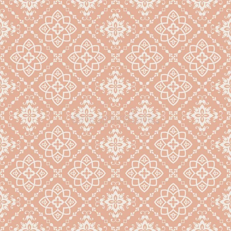 Orientalisches Muster mit Damast, Arabeske und Florenelementen Nahtloser abstrakter Hintergrund stock abbildung