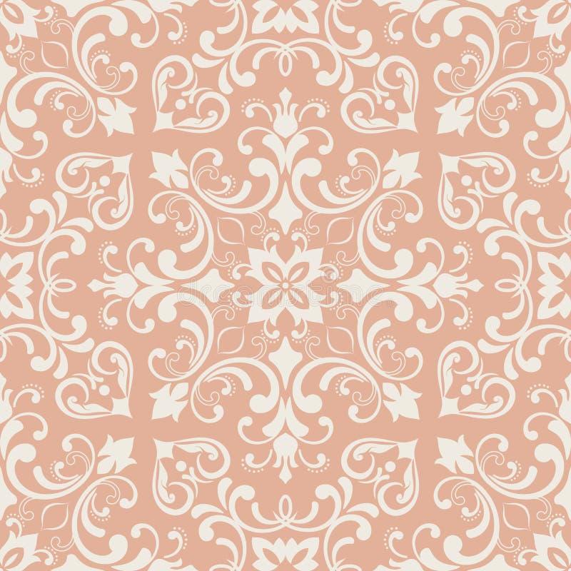 Orientalisches Muster mit Damast, Arabeske und Florenelementen Nahtloser abstrakter Hintergrund lizenzfreie abbildung