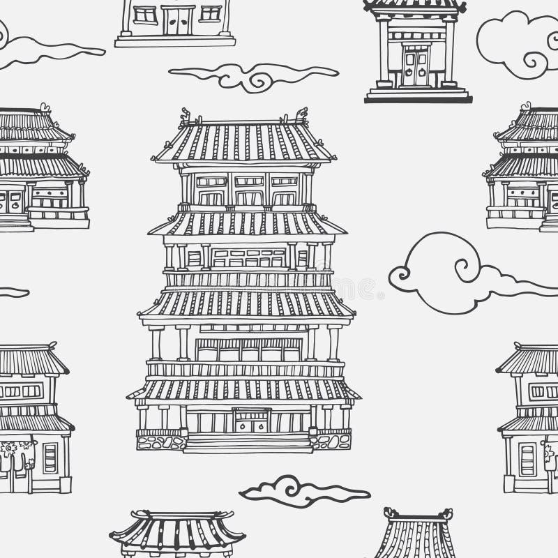 Orientalisches nahtloses Muster des Vektors mit asiatischer Architektur vektor abbildung