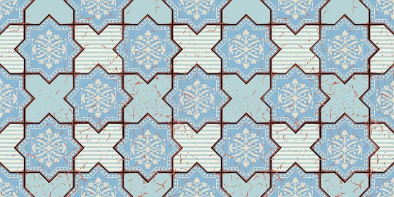 Orientalisches nahtloses Muster des Vektors Realistischer Weinlese-Marokkaner, portugiesische achteckige Fliesen stock abbildung
