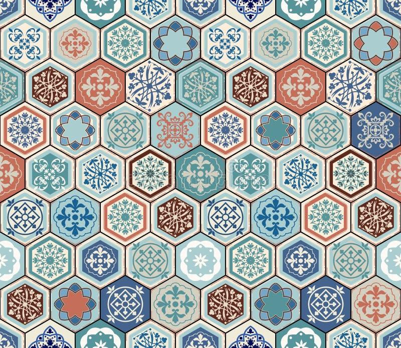 Orientalisches nahtloses Muster des Vektors Realistischer Weinlese-Marokkaner, portugiesische sechseckige Fliesen vektor abbildung