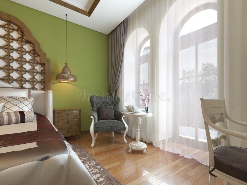 Orientalisches Schlafzimmer in der arabischen Art, mit einer hölzernen Kopfende und grünen Wänden Fernseheinheit, Frisierkommode, vektor abbildung
