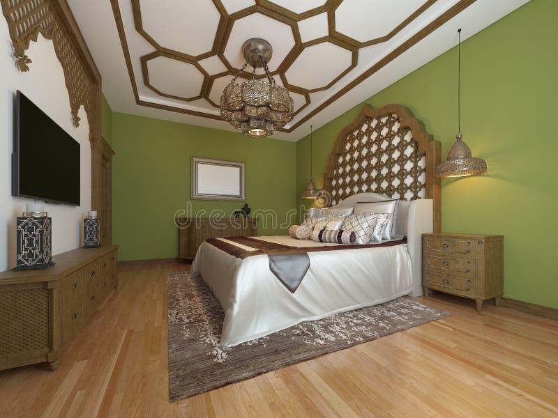 Orientalisches Schlafzimmer in der arabischen Art, mit einer hölzernen Kopfende und grünen Wänden Fernseheinheit, Frisierkommode, stock abbildung